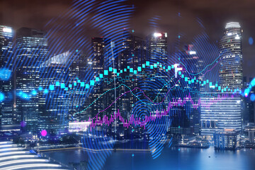 FOREX graph hologram, aerial night panoramic cityscape of Singapore, the developed location for stock market researchers in Asia. The concept of fundamental analysis. Double exposure. Wall mural