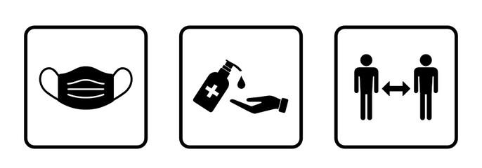 Obraz zestaw znaków: dezynfekcja rąk, noszenie maski i zachowania dystansu - fototapety do salonu
