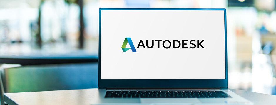 Laptop computer displaying logo of Autodesk
