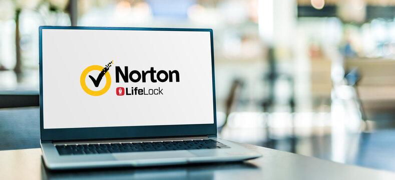 Laptop computer displaying logo of Norton AntiVirus