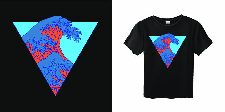 Vaporwave stylish t-shirt and apparel trendy design with Great Wave. Fashion print template with ocean's crest leap, vector illustration.