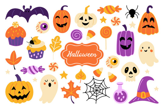 Halloween holiday cute element set. Childish print for card, stickers, party invitations and apparel. Vector Illustration