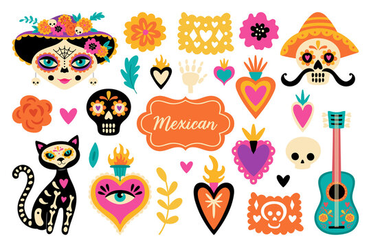 Cute set of mexican elements for Day of the dead Dia de los Muertos holiday. Childish print for cards, stickers, patches and apparel. Vector illustration