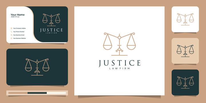 Symbol of the law of premium justice.law firm,logo design and business card template.Premium Vector