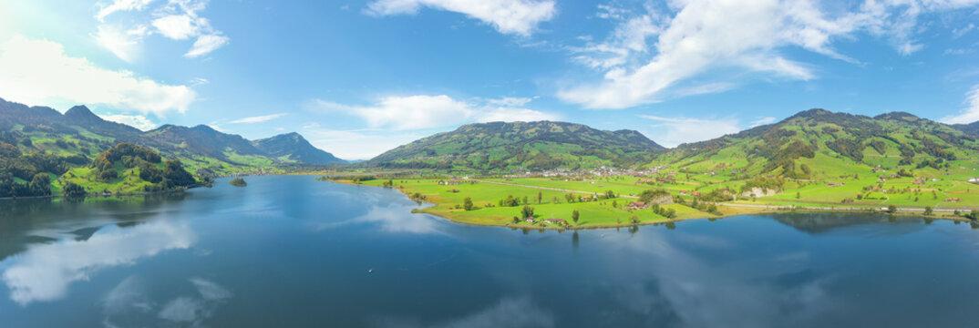 Wide panorama of Lake Lauerz. Switzerland.  Aerial view.