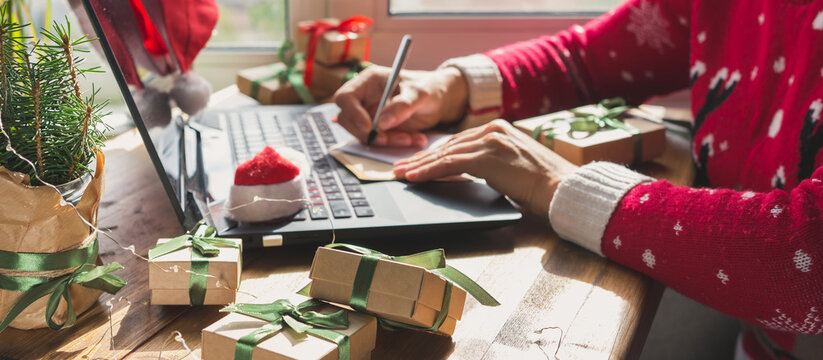 Christmas online shopping, sales and discounts promotions during the Christmas holidays, online shopping at home and lockdown coronavirus.Xmas.