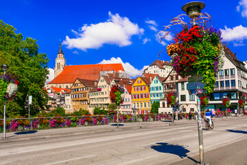 Most colorful towns - traditional Tubingen town decoarated by flowers. Downtown. Germany settember 2016