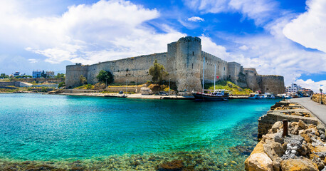 Cyprus landmarks - old town of Kyrenia (Girne) turkish part of island. Marine with castle.