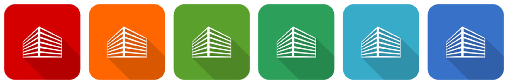 Modern design office building icon set, flat design vector illustration in 6 colors options for webdesign and mobile applications