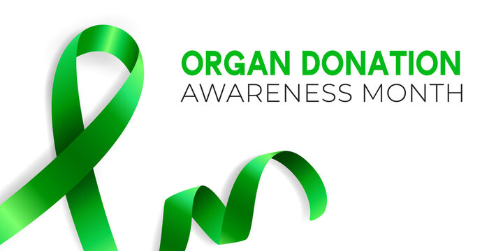 Realistic vector illustration of green ribbon awareness symbol. Organ donation, liver cancer, mental health and other illness prevention sign