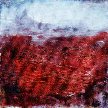 Abstract Grunge Landscape Painting Background Texture, Canvas texture with Paint Strokes. Original acrylic painting.