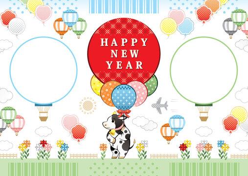 2021年2033年丑年イラスト年賀状デザイン「牛と風船と熱気球フレーム枠」HAPPY NEW YEAR (year of the ox illustration new year's card greeting post card design cow and balloon frame happy new year)