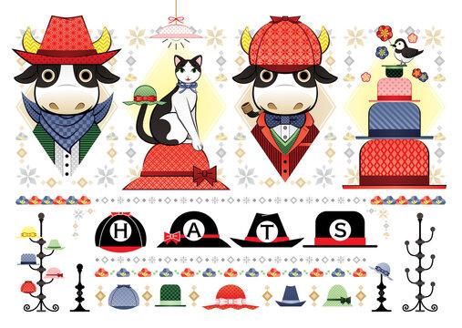 色々な帽子のイラスト「帽子牛と猫と鳥」HATS (various hat Illustration cowboy bull detective bull cat bird hats)