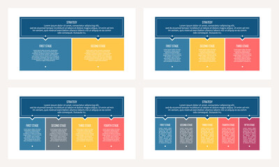 Fototapeta Business process. Chart with 2, 3, 4, 5 steps, options, sections. Vector template. obraz