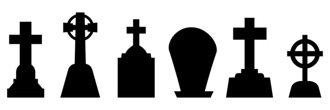 Tombstones set. Vector tombstones isolated silhouette.