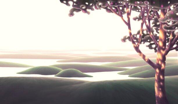 illustration of surreal landscape