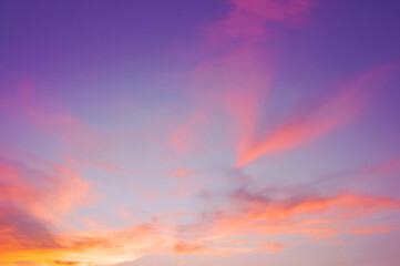 Evening sky with cloud purple,pink,ultra violet and orange sunset sky backdrop. Beautiful natural of sky abstract or background. Soft image.