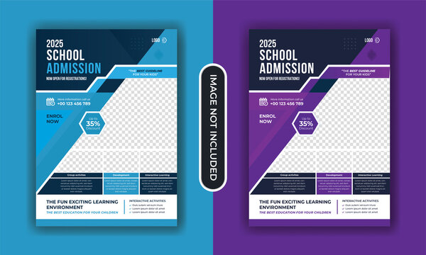 School admission kids education flyer template