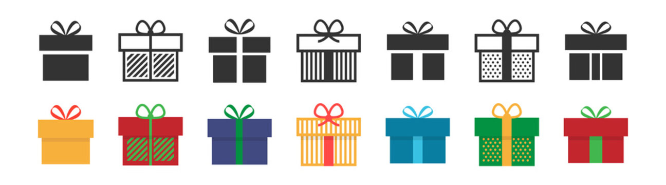 Gift box icon. Present symbol. Christmas box. Surprise with gift box in flat style. Set with gift in colorful style. Vector