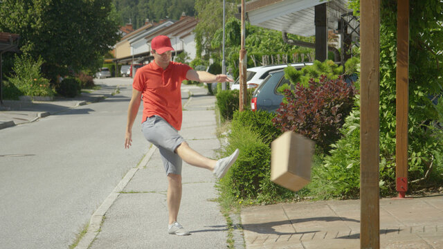 Careless courier makes his deliveries around the idyllic suburban neighborhood.