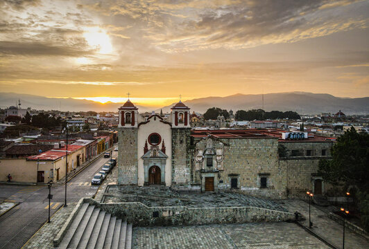 A sunset view of Oaxaca City, Mexico from a Drone
