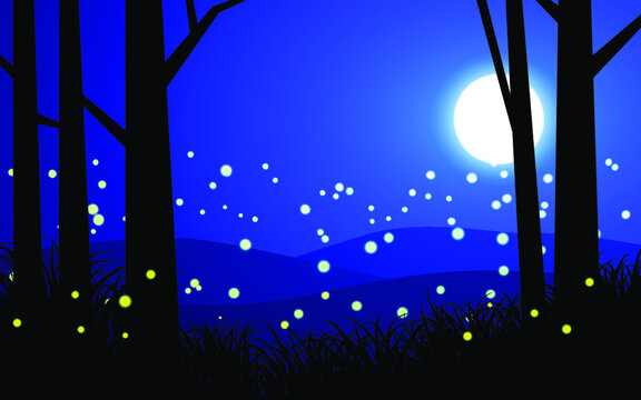 illustration of night scene with moonlight and firefly