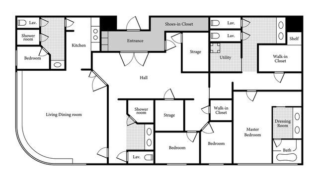 Sample layout of a luxury condominium