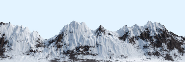 Panoramic snowy mountains range landscape. Isolated 3D rendered image.