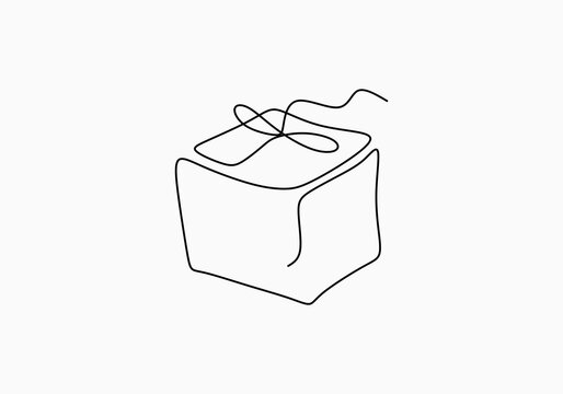 Continuous line drawing of gift box with ribbon bow. Wrapped surprise package for christmas or birthday party isolated on white background. Party and celebration concept. Vector minimalism design