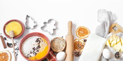 Fototapeta Ingredients for preparing festive new Year and Christmas food
