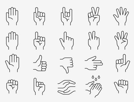 Hands line icons set. Editable stroke.