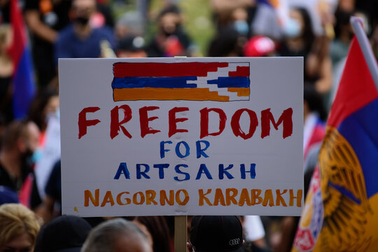 Los Angeles, California, USA - October 2020: Posters at the American demonstration against Armenia - Azerbaijan conflict for Artsakh. Armenians in America protest the war.