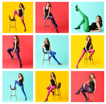 Collage of photos with beautiful young woman in different tights