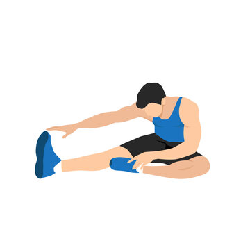 Man doing Warm up by Sitting stretching your body by touching your toes. Hamstring stretch