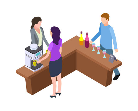 Coffee break. Woman and hot drinks machine. Isometric wine tasting bar counter with bottles and glasses vector illustration. Man and woman staff prepare latte to takeaway