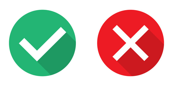 Tick and cross in circle. Green checkmark and red x sign. Isolated correct and wrong icons. Yes and no illustration on white background. Error and positive sticker. Positive and negative set. EPS 10.