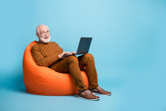 Portrait of his he nice attractive cheerful cheery glad bearded grey-haired man sitting in bag chair using laptop chatting learning it courses isolated over blue pastel color background