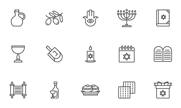 Hanukkah,Jewish holiday line icons set. linear style symbols collection, outline signs pack. vector graphics. Set includes icons as hanukkah dessert doughnut, menorah, dreidel,torah, David star