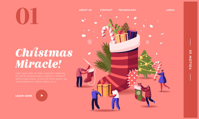 Photo sur Plexiglas Dinosaurs Happy Characters Celebrating Christmas Landing Page Template. People at Huge Sock with Gifts and Decorated Fir Tree