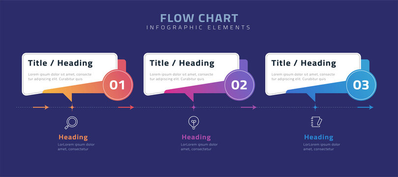 Flow chart infographic elements