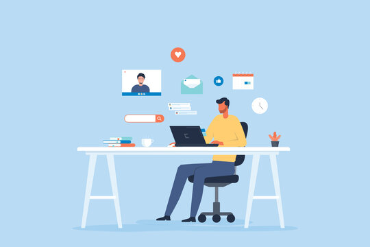flat vector businessman work from home workplace concept and business smart working online connect anywhere concept