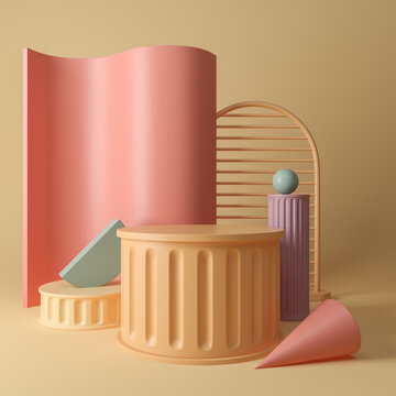 Trendy set of geometric forms in warm colors with podium for product and advertising presentation. Blank copy space.