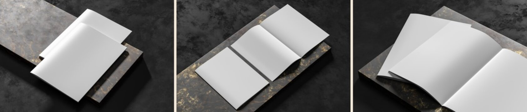 Realistic magazine or catalog mock up on dark granite background. Blank soft cover magazine mockups rendered with three different variations. 3D illustration.