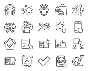Education icons set. Included icon as Candlestick graph, Check article, People chatting signs. Winner ribbon, Ranking star, Feedback symbols. Job interview, Developers chat, Headphones. Vector