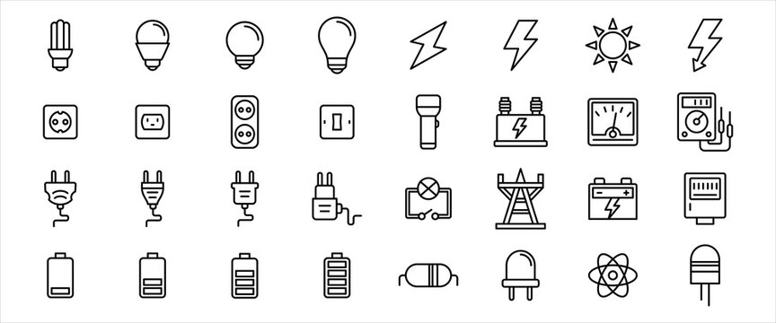 Simple Set of electricity component Related Vector icon graphic design. Contains such Icons as light bulb, electric shock symbol, flashlight, torch, power line tower, plugin and battery