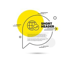 Photo sur Plexiglas Dinosaurs World Statistics line icon. Speech bubble vector concept. Report chart or Sales growth sign. Data Analysis graph symbol. World Statistics line icon. Abstract bubble balloon badge. Vector