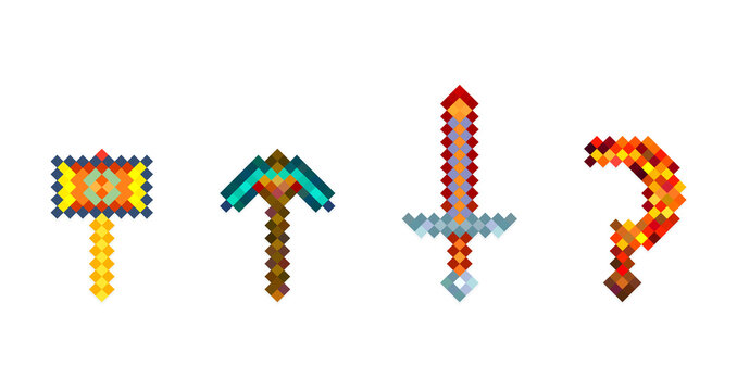 Set of color pixel Arsenal, weapons in the style of eight-bit games. Weapon isolate game mode on a white background. Vector illustration