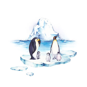 Watercolor illustrations with iceberg, ice floes and penguins