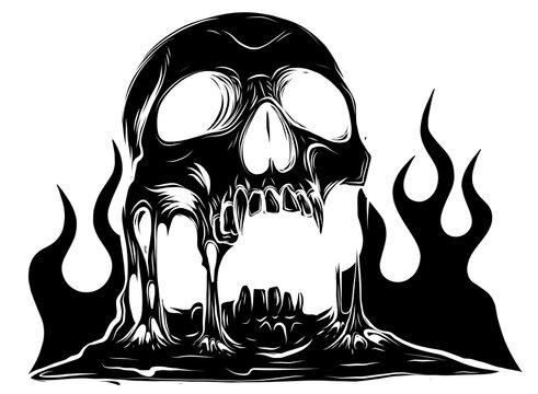 skull that is melting black silhouette vector drawing illustration