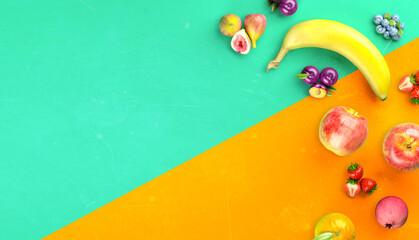 Healthy fruits with vitamins background. Organic fresh sweet fruits. Apples, banana, orange, plums, strawberies. Healthy diet. 3d rendering.